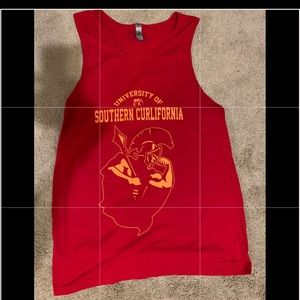 Men's USC inspired red muscle tank top